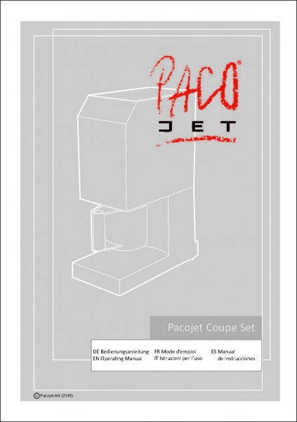 Pacojet PLUS Coupe Set Bedienungsanleitung 5-sprachige Ausgabe
